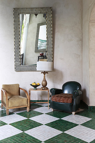 Seating on tiled chequered floor below mirror on wall