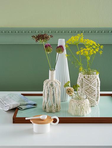 Macrame vase covers