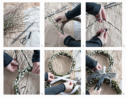 Hand-tying an Easter wreath of pussy willow