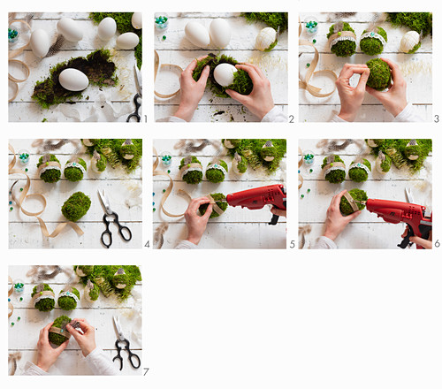 Instructions for covering concrete Easter eggs with moss