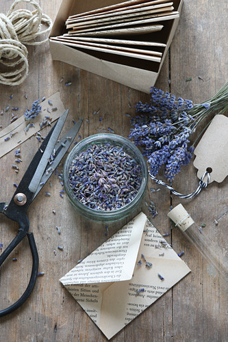 Envelopes handmade from old book pages filled with lavender flowers