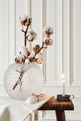 Baumwollzweige in Glasvase als winterliche Dekoration