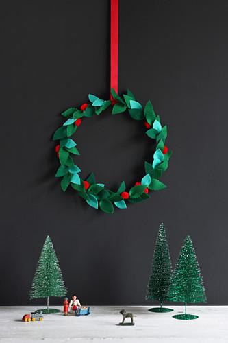 Handcrafted felt Christmas wreath