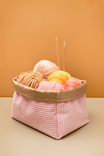 Handmade corduroy knitting baskets lined with mock leather