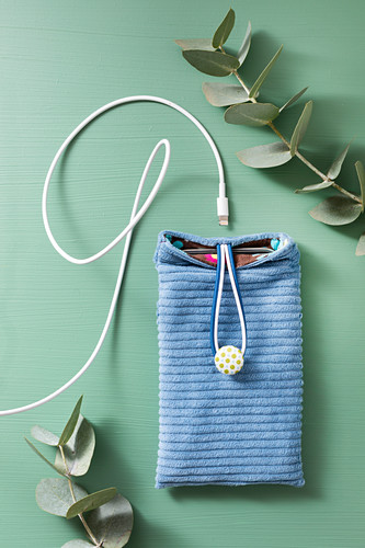 Handmade blue corduroy mobile phone case