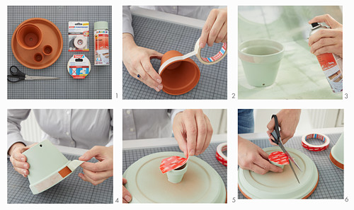 Instructions for making a plant stand from painted terracotta pots