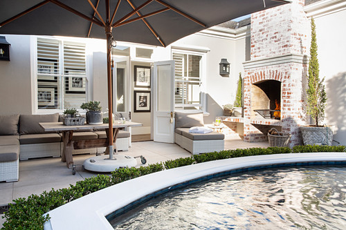 Classic house with terrace and pool in courtyard garden