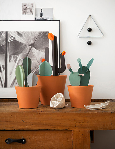 Handmade construction-paper cacti