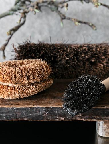 Various brushes with natural-fibre bristles