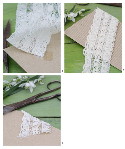 Making a greetings card with lace ribbon