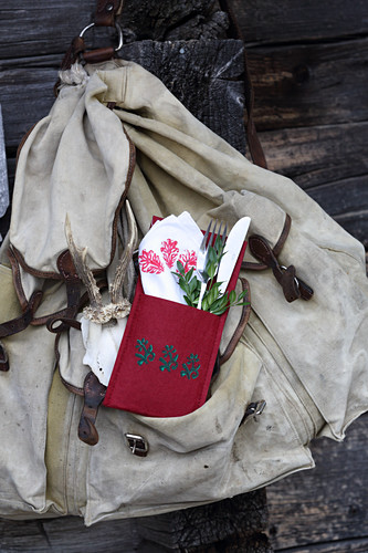Handmade felt cutlery pouch with stamped pattern for taking hiking
