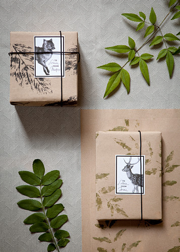 Gifts wrapped in DIY wrapping paper