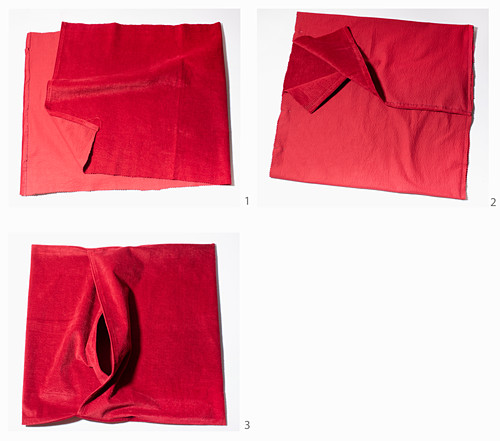 Instructions for making red corduroy cushion covers