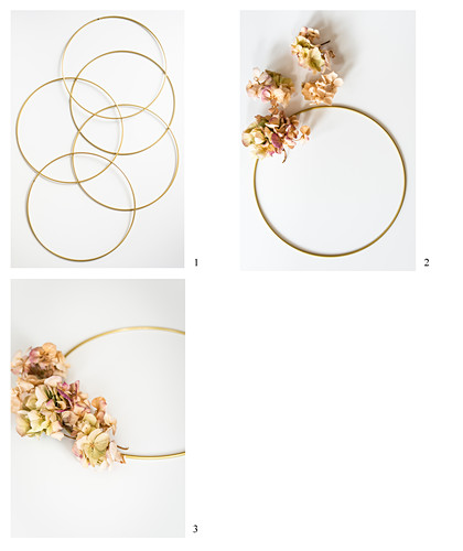 Instructions for decorating a golden ring with dried hydrangeas