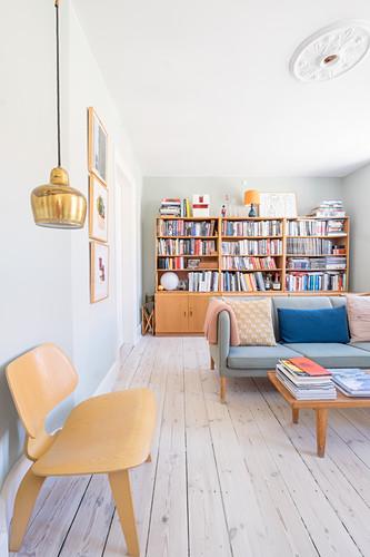 Bright living room in retro Scandinavian style