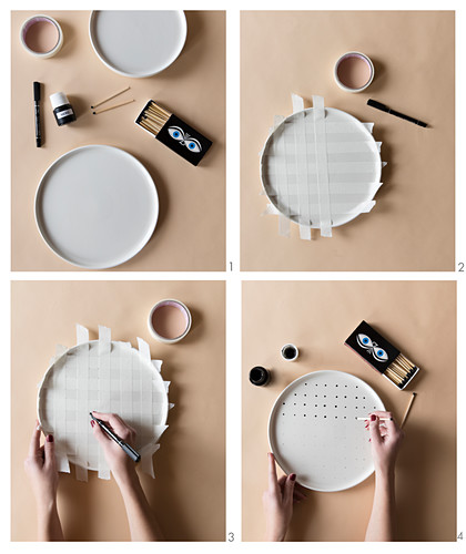 Instructions for making tray painted with polka-dots