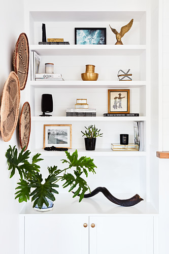 Ornaments and houseplants on fitted shelves in niche