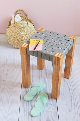 A stool with a DIY leather seat
