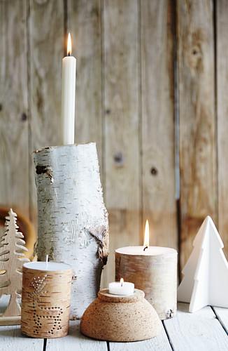 Candlesticks handmade from birch logs