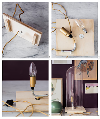 Instructions for making table lamp with glass cover