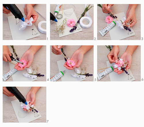 Instructions for making hair accessory from real flowers