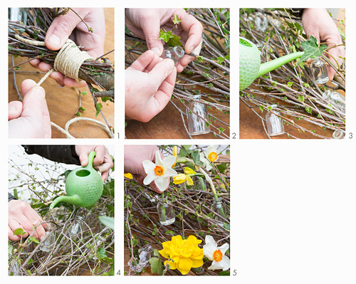 Instructions for tying an arrangement of narcissus