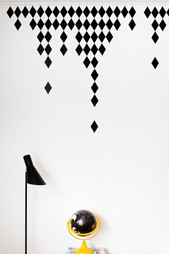 DIY diamond wall stickers above desk
