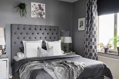 Classic bedroom decorated entirely in grey