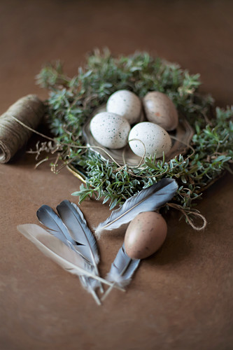 Speckled eggs on pewter plate in Easter nest with feathers in foreground