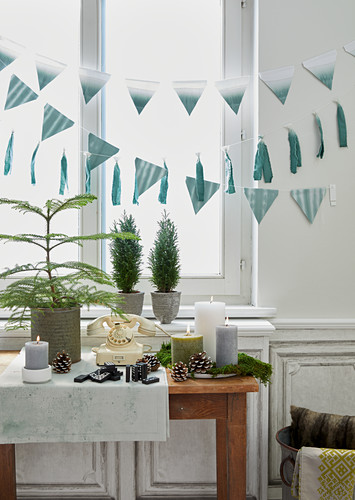 Festive arrangement of candles, pine cones, plants and bunting