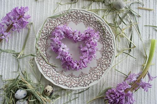 Heart-shaped wreath of hyacinth florets