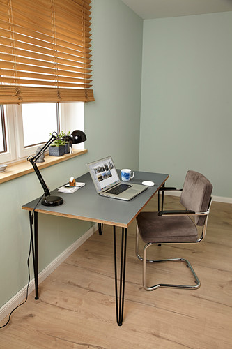 DIY desk with hairpin legs and linoleum top
