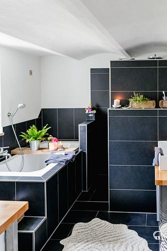 Black Tiles In Bathroom Image