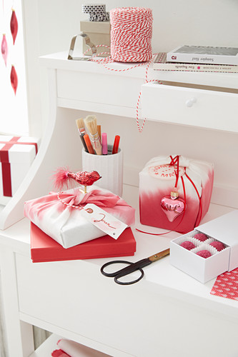 Handmade furoshiki gift wrap