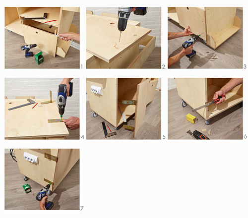Instructions for building a workshop trolley (attaching doors)