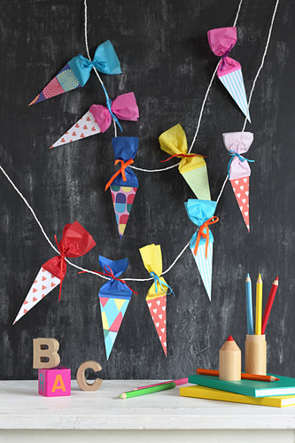Garland of paper cones for celebrating first day of school