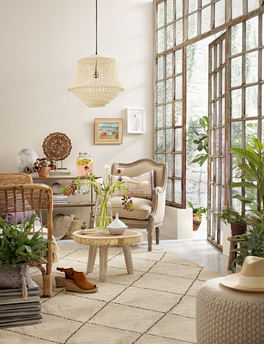 Bohemian-style living room with old lattice windows
