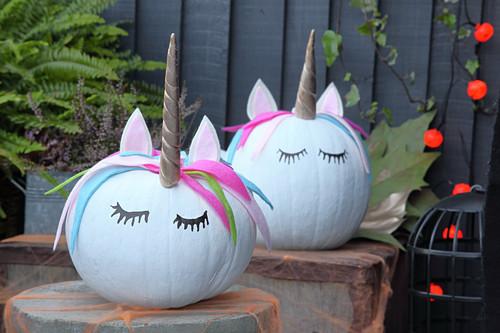 Handcrafted Halloween decorations: Unicorn pumpkins