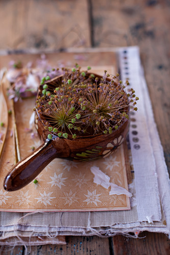 Dried garlic flowers decorating table