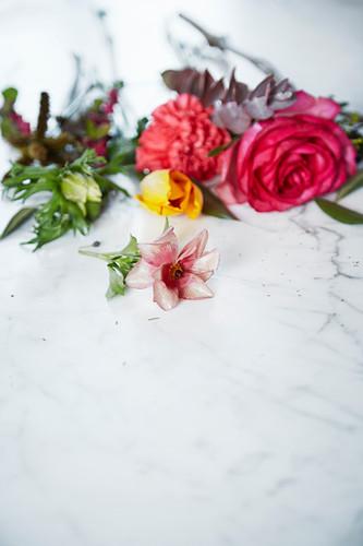 Roses, carnation, anemone and eucalyptus sprig