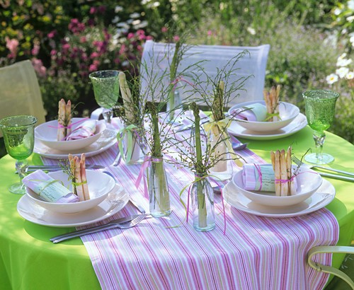 Laid table decorated with asparagus out of doors