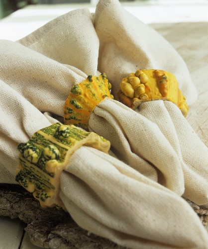 Napkins with napkin rings made from ornamental gourds
