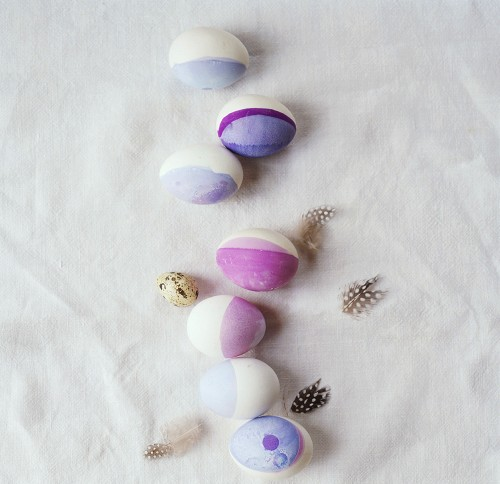 A row of Easter eggs