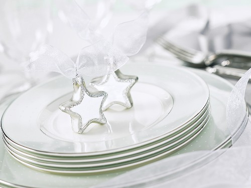Tableware, cutlery, Christmas decorations for white table