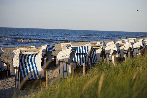 Dunes and canopied beach chairs on the Baltic coast, Zingst