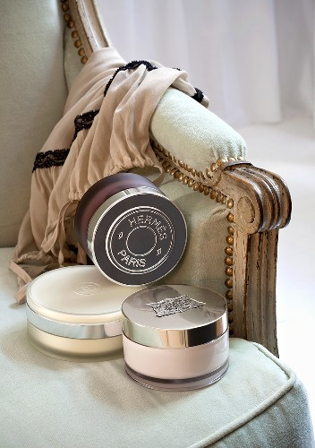 Ladies cosmetic products on a chair