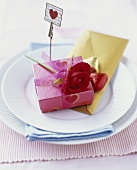 Valentine's Day gift on a place-setting