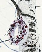 Weihnachtskranz aus Eis und Zweigen