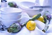 Mediterranean buffet decoration: artichokes & lemons