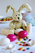Fabric bunny with Easter eggs